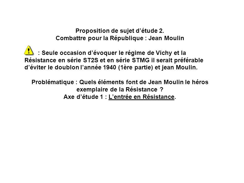 Proposition de sujet détude 2. Combattre pour la République : Jean Moulin : Seule occasion dévoquer le régime de Vichy et la Résistance en série ST2S