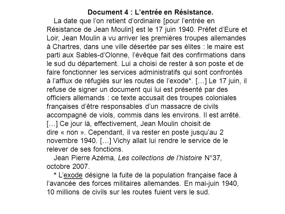 Document 4 : Lentrée en Résistance. La date que lon retient dordinaire [pour lentrée en Résistance de Jean Moulin] est le 17 juin 1940. Préfet dEure e