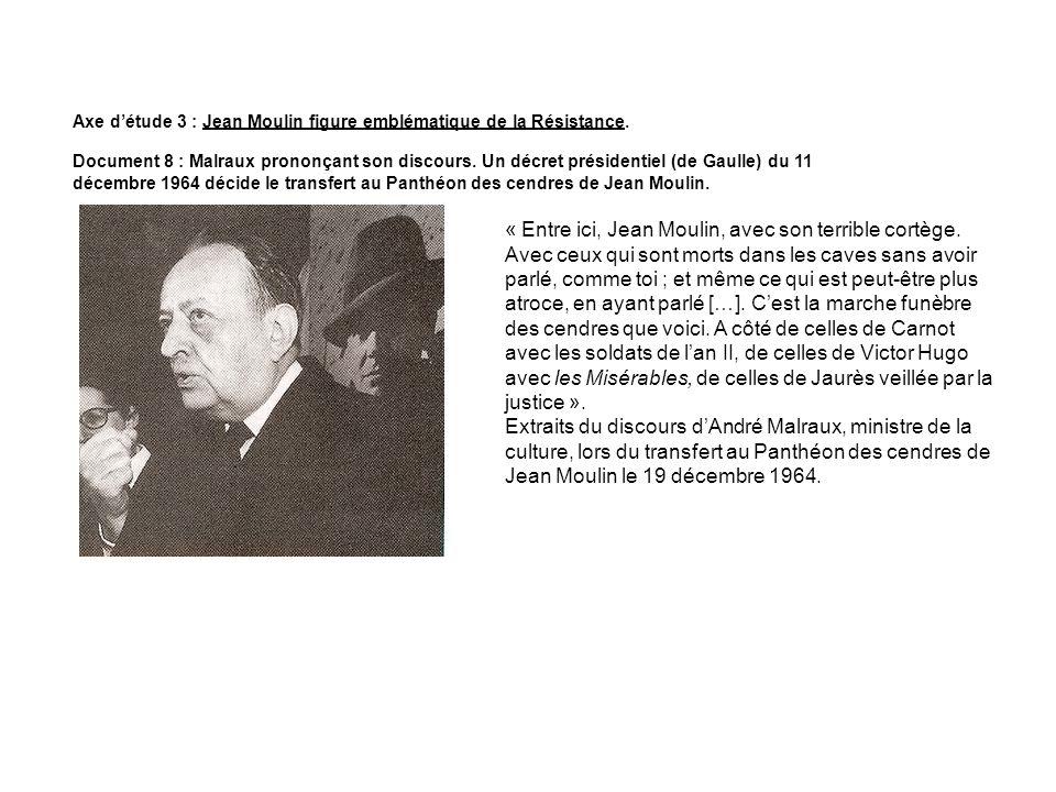 Axe détude 3 : Jean Moulin figure emblématique de la Résistance. Document 8 : Malraux prononçant son discours. Un décret présidentiel (de Gaulle) du 1