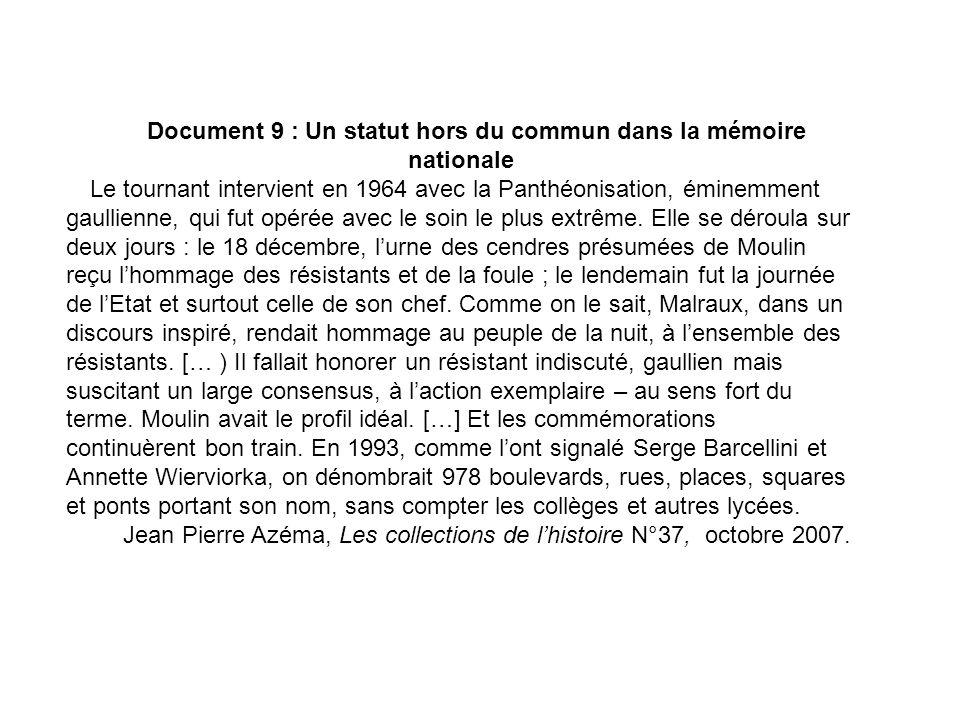 Document 9 : Un statut hors du commun dans la mémoire nationale Le tournant intervient en 1964 avec la Panthéonisation, éminemment gaullienne, qui fut