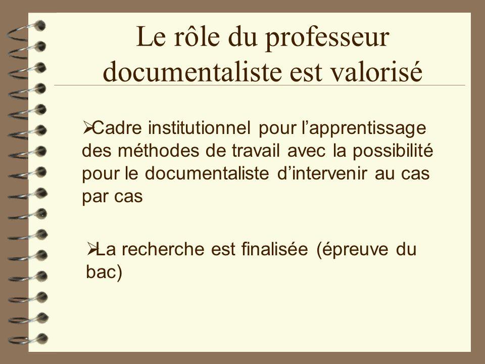 Le rôle du professeur documentaliste est valorisé Cadre institutionnel pour lapprentissage des méthodes de travail avec la possibilité pour le documen