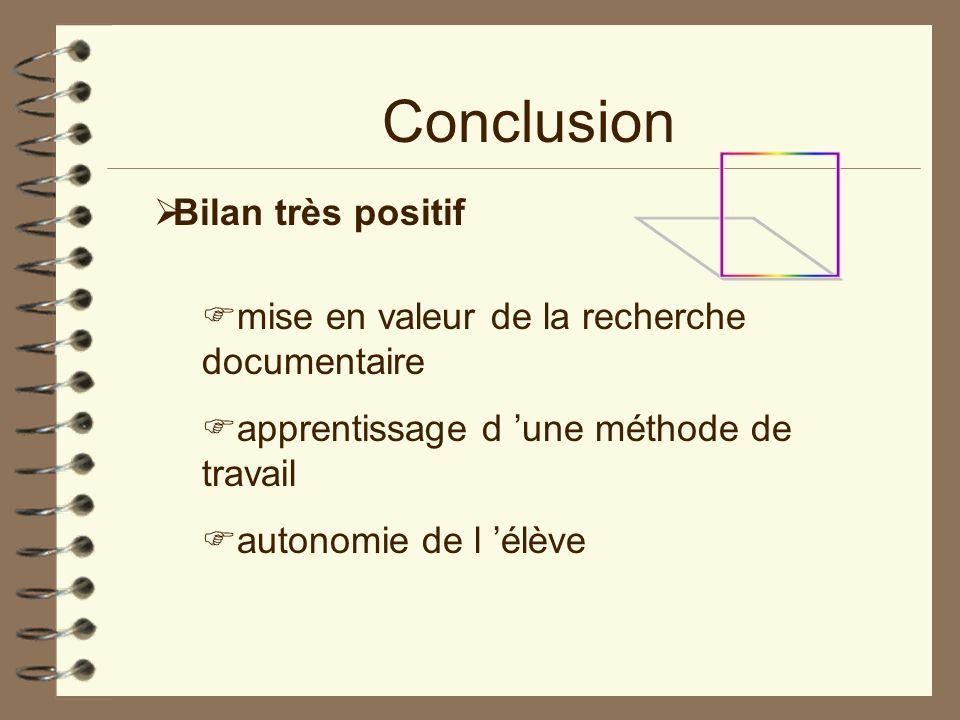 Conclusion Bilan très positif mise en valeur de la recherche documentaire apprentissage d une méthode de travail autonomie de l élève