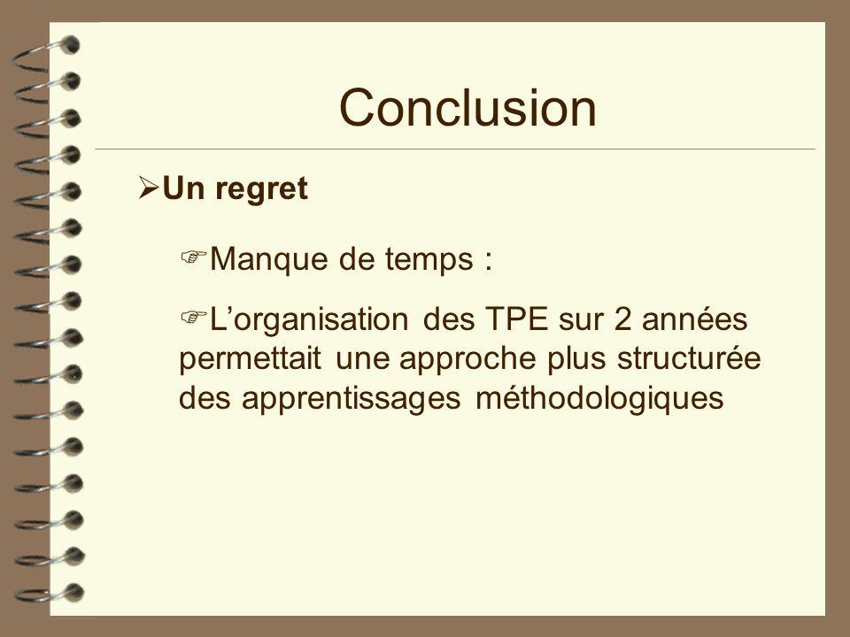 Conclusion Un regret Manque de temps : Lorganisation des TPE sur 2 années permettait une approche plus structurée des apprentissages méthodologiques
