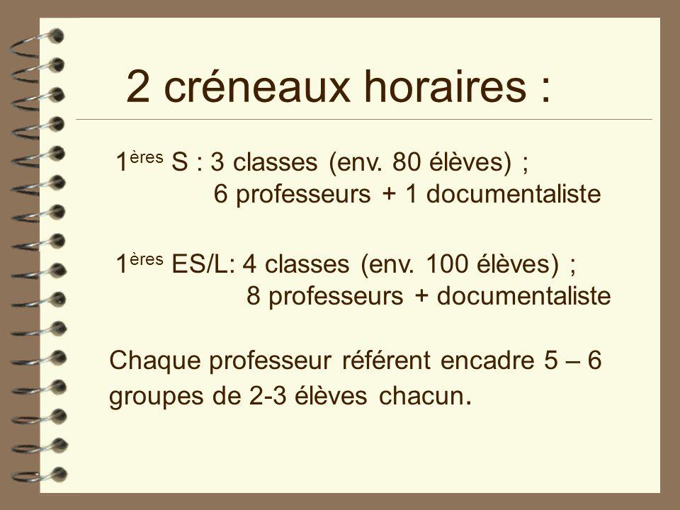 2 créneaux horaires : 1 ères S : 3 classes (env. 80 élèves) ; 6 professeurs + 1 documentaliste 1 ères ES/L: 4 classes (env. 100 élèves) ; 8 professeur