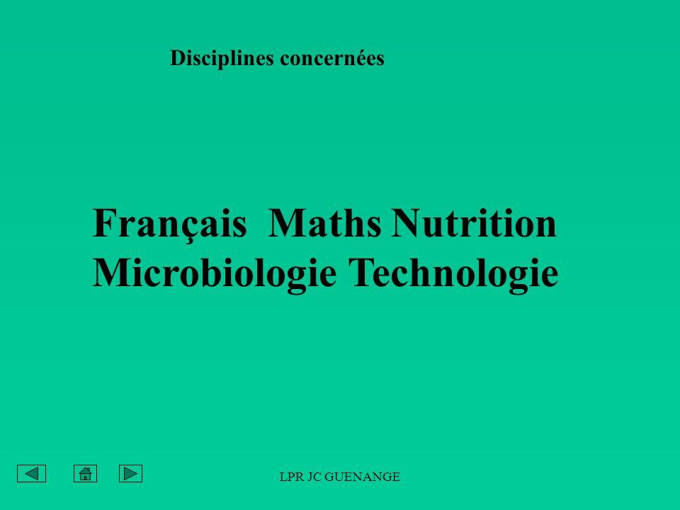 LPR JC GUENANGE Disciplines concernées Français Maths Nutrition Microbiologie Technologie