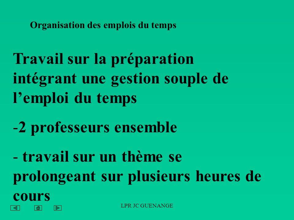 LPR JC GUENANGE Organisation des emplois du temps Travail sur la préparation intégrant une gestion souple de lemploi du temps -2 professeurs ensemble