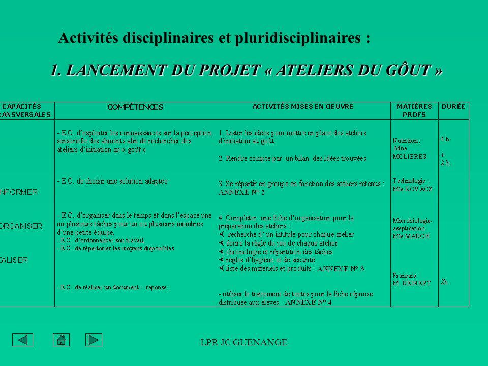 LPR JC GUENANGE Activités disciplinaires et pluridisciplinaires : 1. LANCEMENT DU PROJET « ATELIERS DU GÔUT »