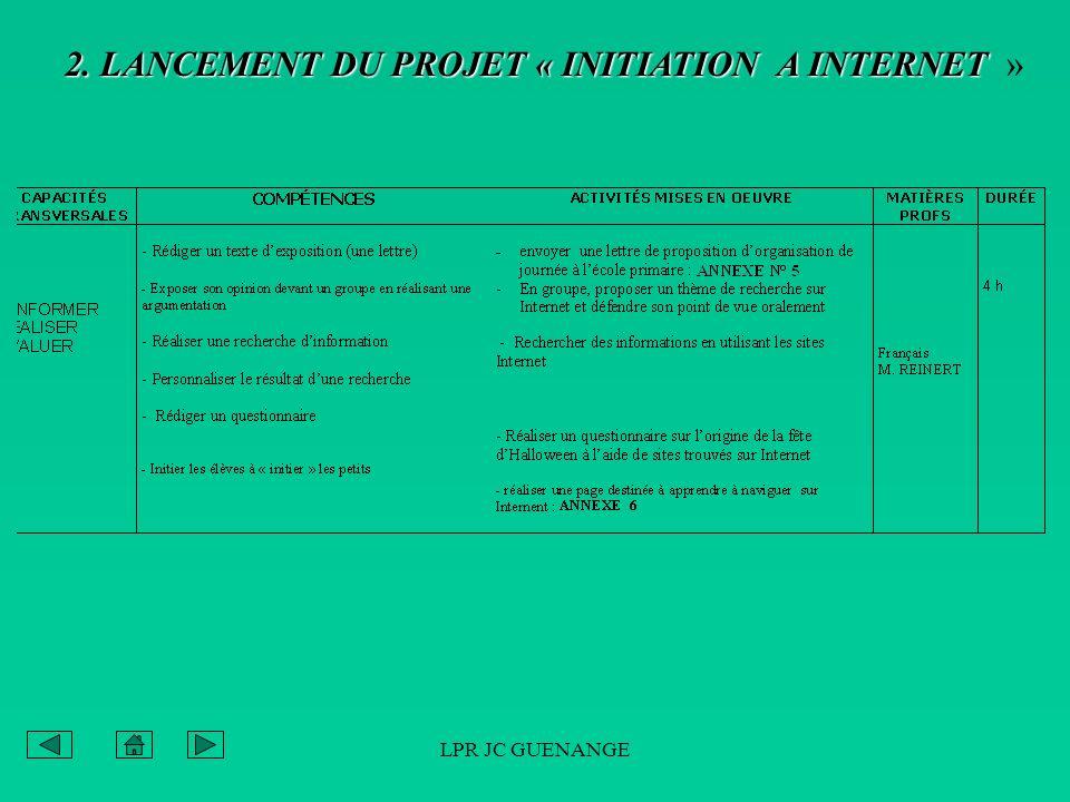 LPR JC GUENANGE 2. LANCEMENT DU PROJET « INITIATION A INTERNET 2. LANCEMENT DU PROJET « INITIATION A INTERNET »