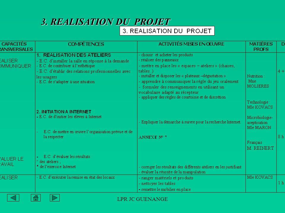 LPR JC GUENANGE 3. REALISATION DU PROJET