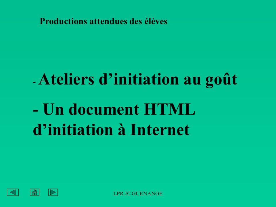 LPR JC GUENANGE Productions attendues des élèves - Ateliers dinitiation au goût - Un document HTML dinitiation à Internet