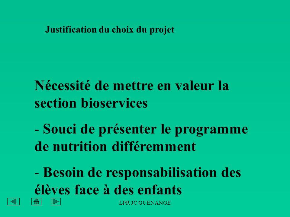LPR JC GUENANGE Justification du choix du projet Nécessité de mettre en valeur la section bioservices - Souci de présenter le programme de nutrition d