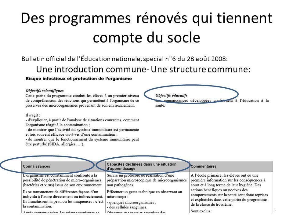 Des programmes rénovés qui tiennent compte du socle Bulletin officiel de lÉducation nationale, spécial n°6 du 28 août 2008: Une introduction commune-