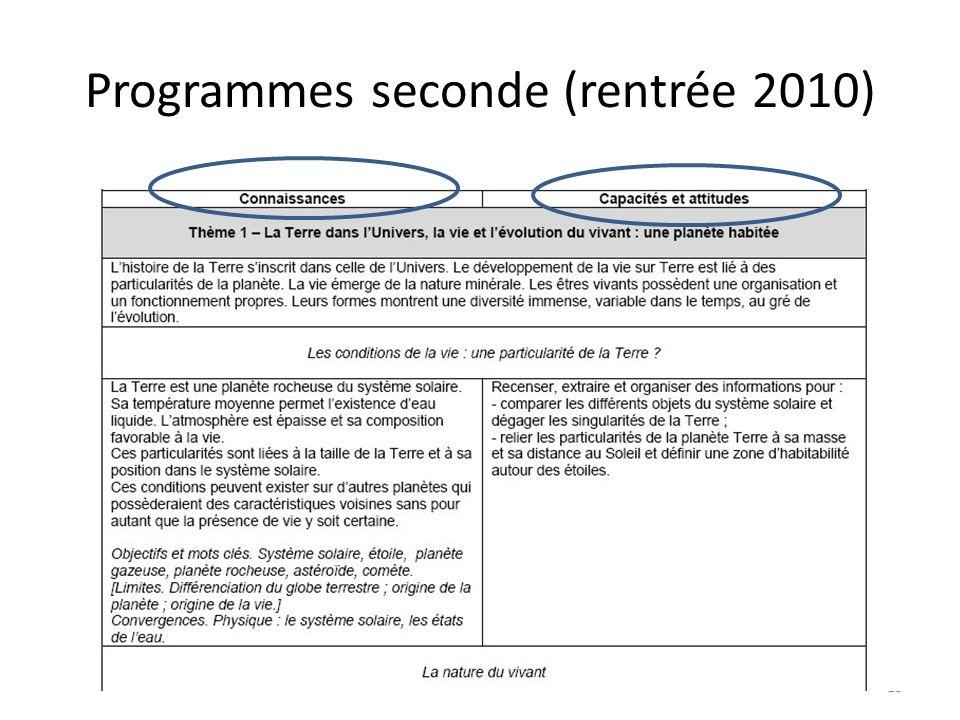 Programmes seconde (rentrée 2010) 15