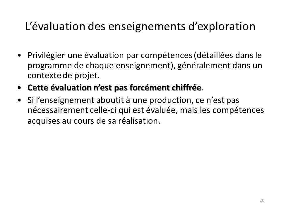 20 Lévaluation des enseignements dexploration Privilégier une évaluation par compétences (détaillées dans le programme de chaque enseignement), généra
