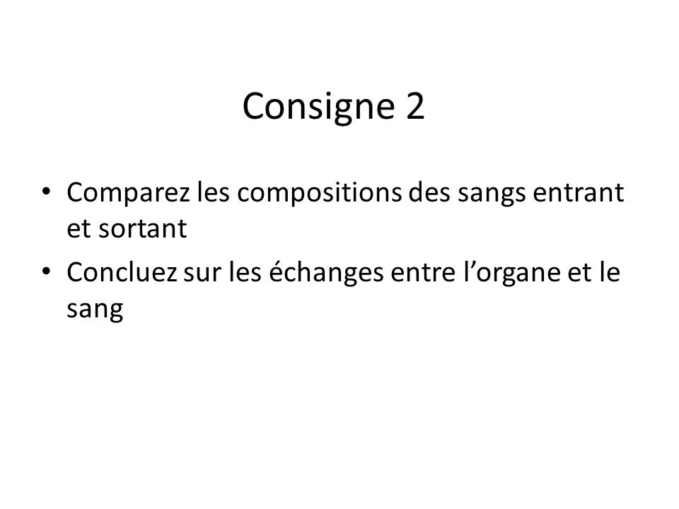 Consigne 2 Comparez les compositions des sangs entrant et sortant Concluez sur les échanges entre lorgane et le sang