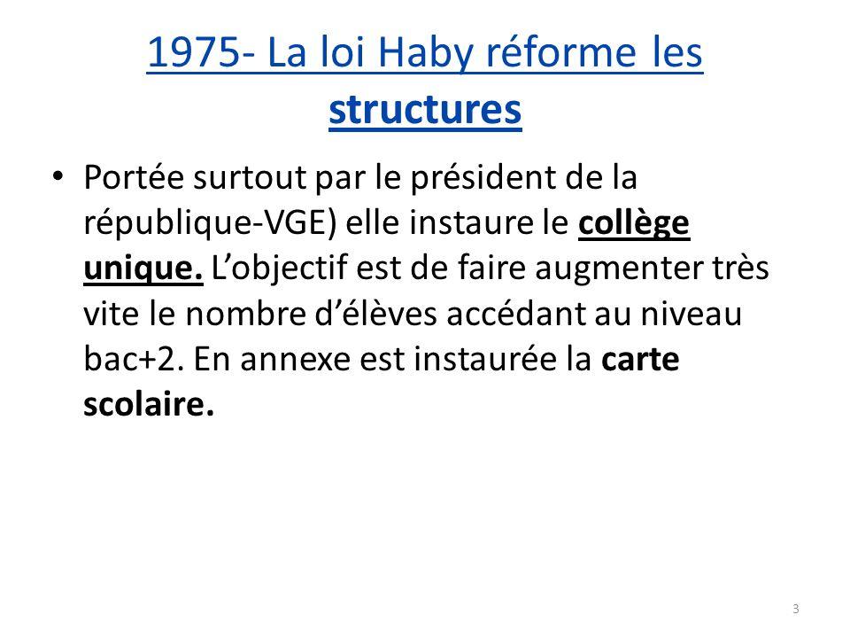 1975- La loi Haby réforme les structures Portée surtout par le président de la république-VGE) elle instaure le collège unique. Lobjectif est de faire