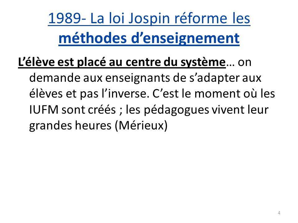 1989- La loi Jospin réforme les méthodes denseignement Lélève est placé au centre du système… on demande aux enseignants de sadapter aux élèves et pas