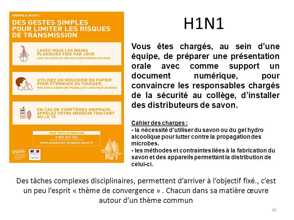 H1N1 Vous êtes chargés, au sein dune équipe, de préparer une présentation orale avec comme support un document numérique, pour convaincre les responsa