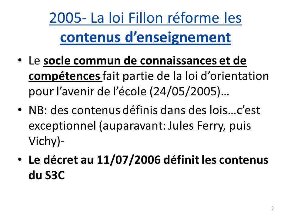 2005- La loi Fillon réforme les contenus denseignement Le socle commun de connaissances et de compétences fait partie de la loi dorientation pour lave