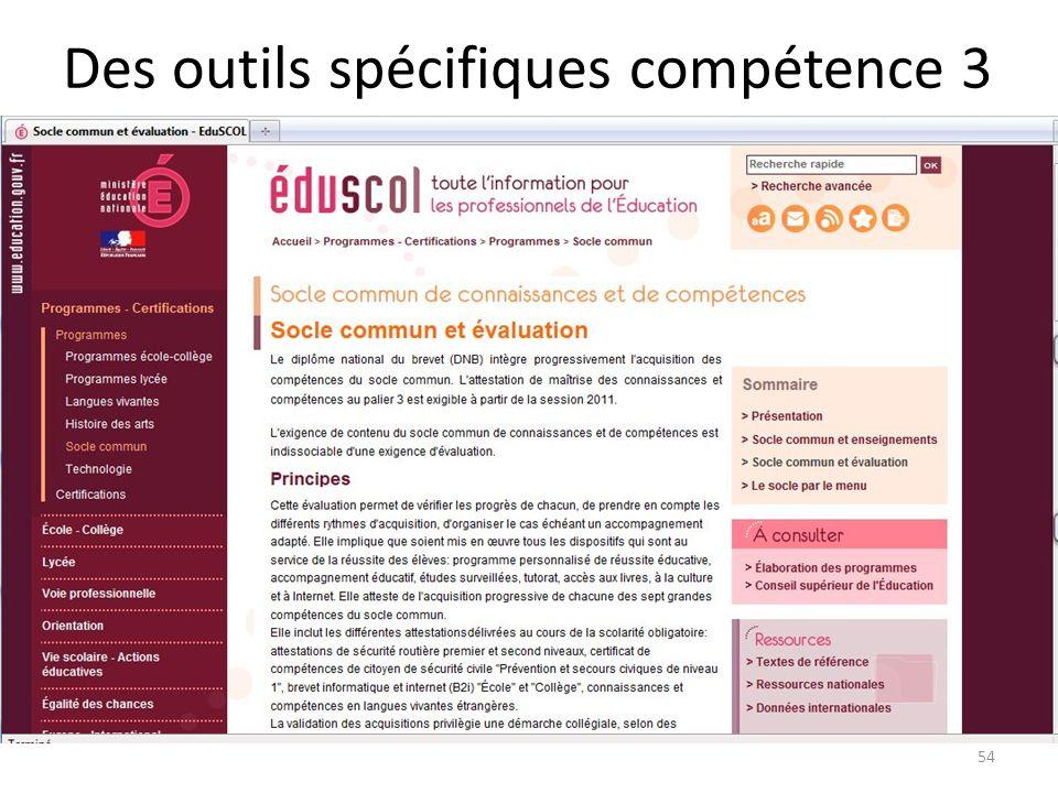 Des outils spécifiques compétence 3 54