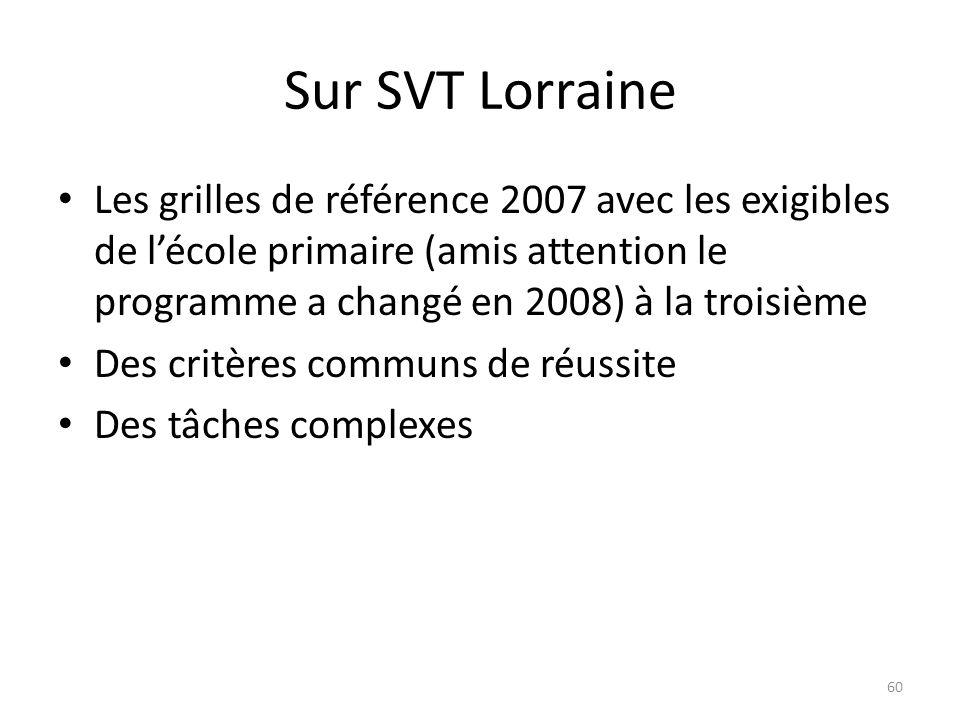 Sur SVT Lorraine Les grilles de référence 2007 avec les exigibles de lécole primaire (amis attention le programme a changé en 2008) à la troisième Des