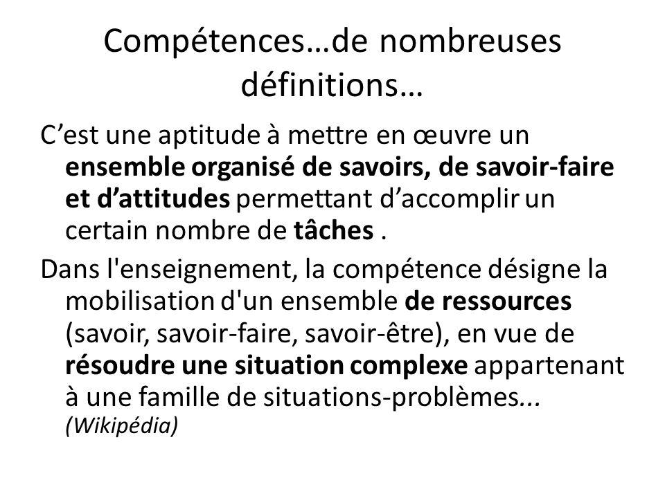 Compétences…de nombreuses définitions… Cest une aptitude à mettre en œuvre un ensemble organisé de savoirs, de savoir-faire et dattitudes permettant d