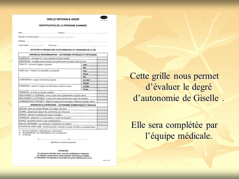 Cette grille nous permet dévaluer le degré dautonomie de Giselle. Elle sera complétée par léquipe médicale.