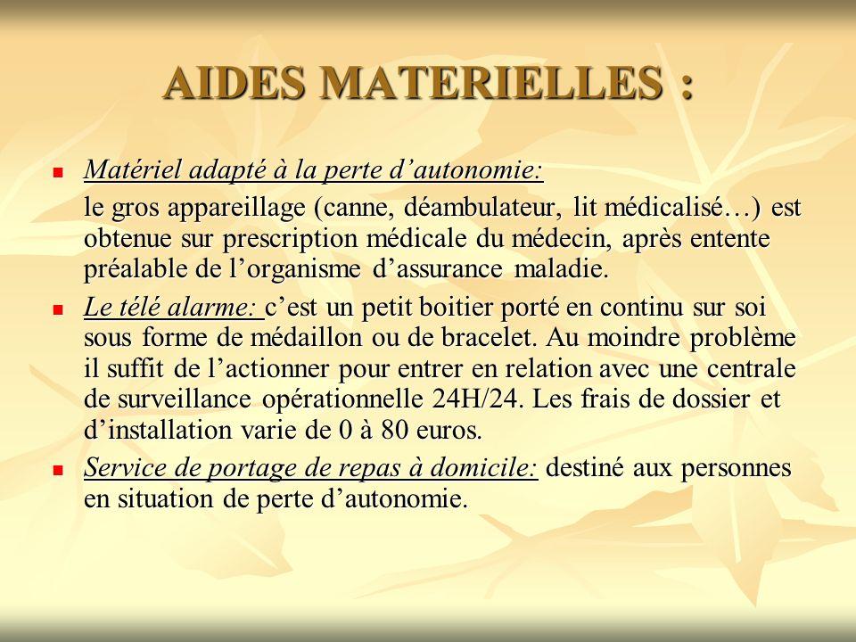 AIDES MATERIELLES : Matériel adapté à la perte dautonomie: Matériel adapté à la perte dautonomie: le gros appareillage (canne, déambulateur, lit médic
