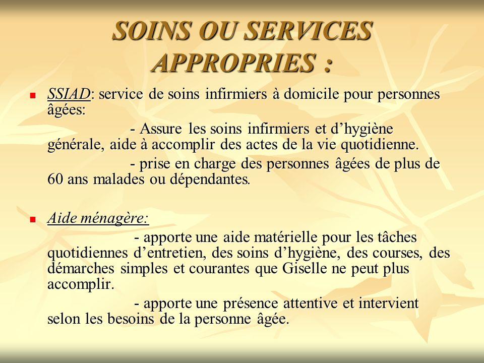 SOINS OU SERVICES APPROPRIES : SSIAD: service de soins infirmiers à domicile pour personnes âgées: SSIAD: service de soins infirmiers à domicile pour