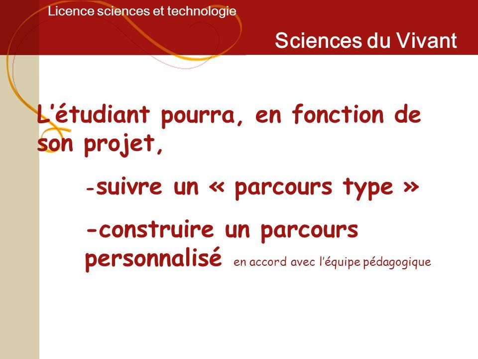Licence sciences et technologie Sciences du Vivant Létudiant pourra, en fonction de son projet, - suivre un « parcours type » -construire un parcours