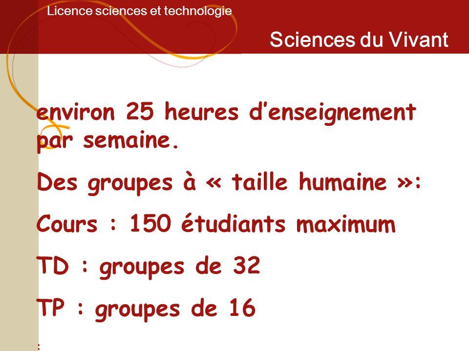 Licence sciences et technologie Sciences du Vivant environ 25 heures denseignement par semaine. Des groupes à « taille humaine »: Cours : 150 étudiant
