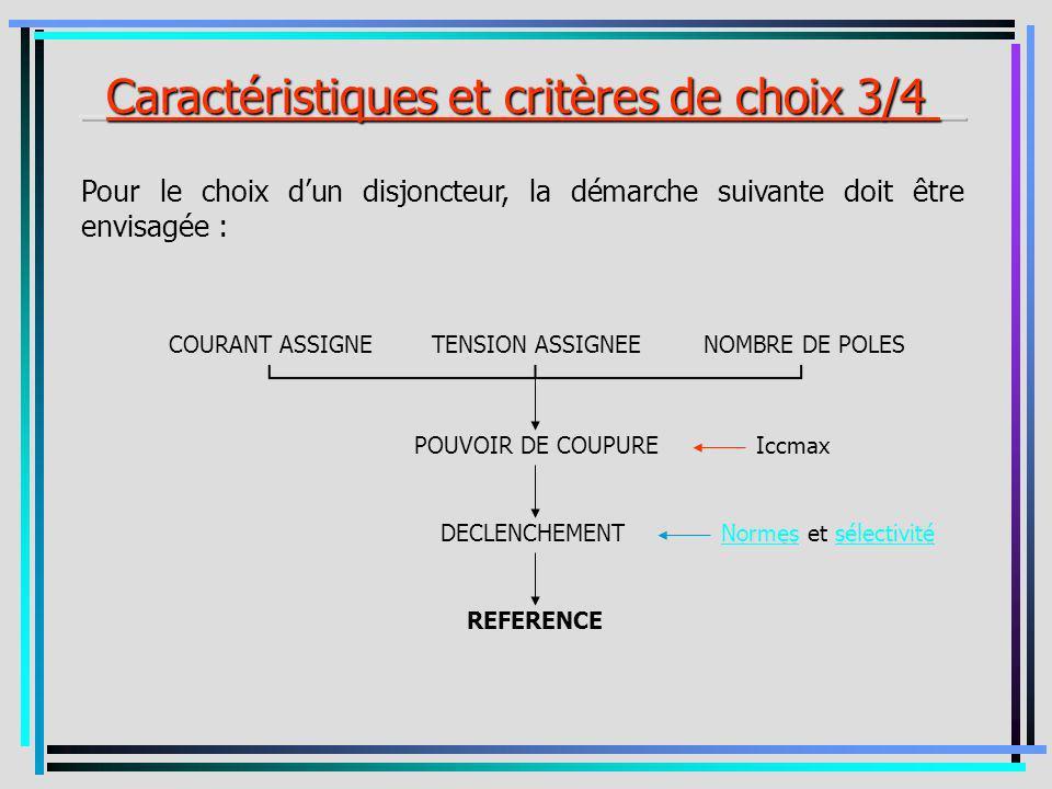 Pour le choix dun disjoncteur, la démarche suivante doit être envisagée : COURANT ASSIGNETENSION ASSIGNEENOMBRE DE POLES POUVOIR DE COUPURE DECLENCHEM