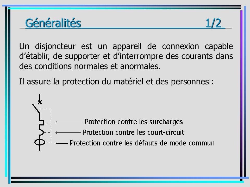 Un disjoncteur est un appareil de connexion capable détablir, de supporter et dinterrompre des courants dans des conditions normales et anormales. Il