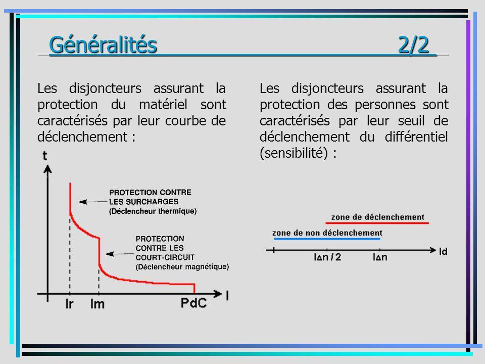 Les disjoncteurs assurant la protection du matériel sont caractérisés par leur courbe de déclenchement : Les disjoncteurs assurant la protection des p