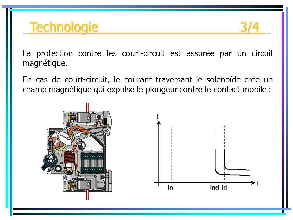 En cas de court-circuit, le courant traversant le solénoïde crée un champ magnétique qui expulse le plongeur contre le contact mobile : La protection