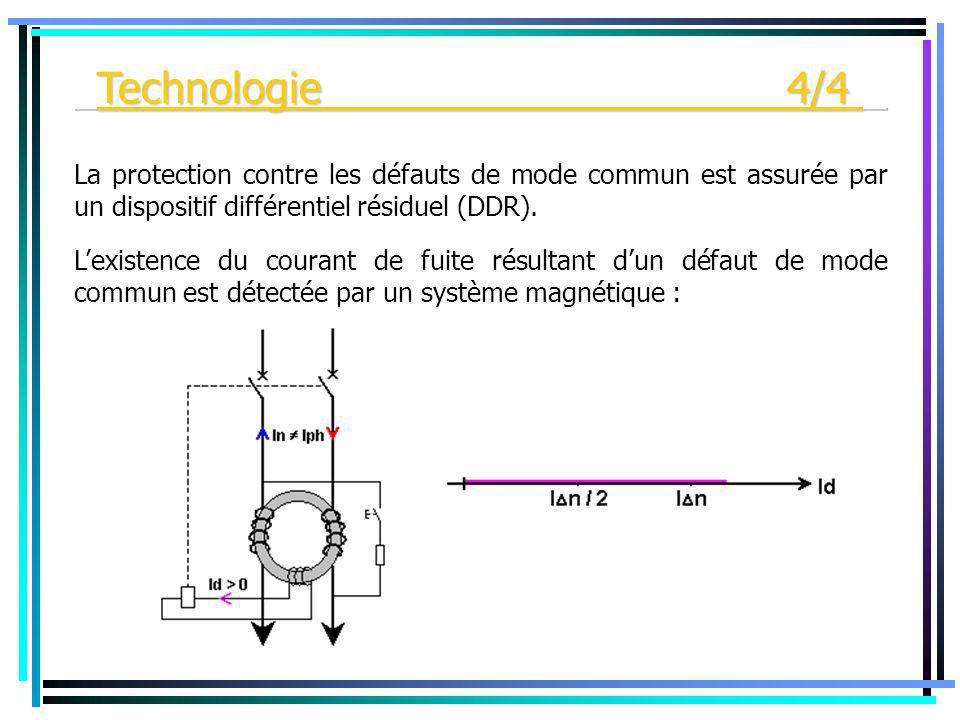 Lexistence du courant de fuite résultant dun défaut de mode commun est détectée par un système magnétique : La protection contre les défauts de mode c
