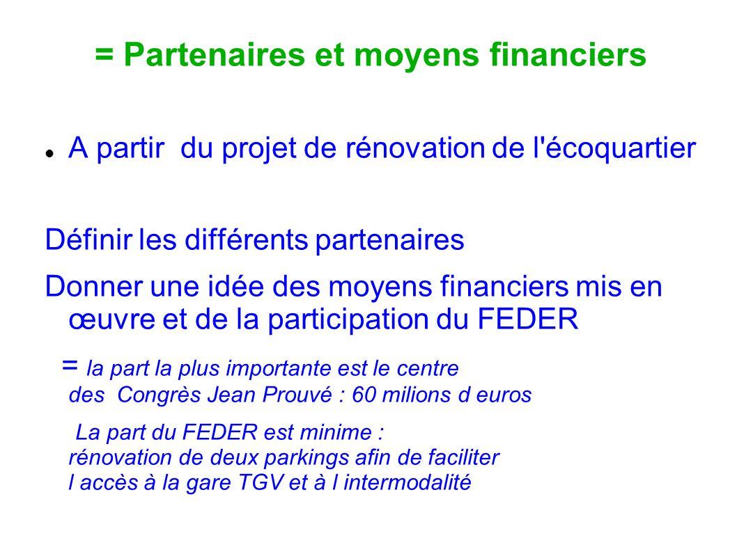 = Partenaires et moyens financiers A partir du projet de rénovation de l'écoquartier Définir les différents partenaires Donner une idée des moyens fin