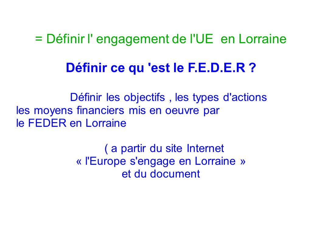 = Définir l' engagement de l'UE en Lorraine Définir ce qu 'est le F.E.D.E.R ? Définir les objectifs, les types d'actions les moyens financiers mis en