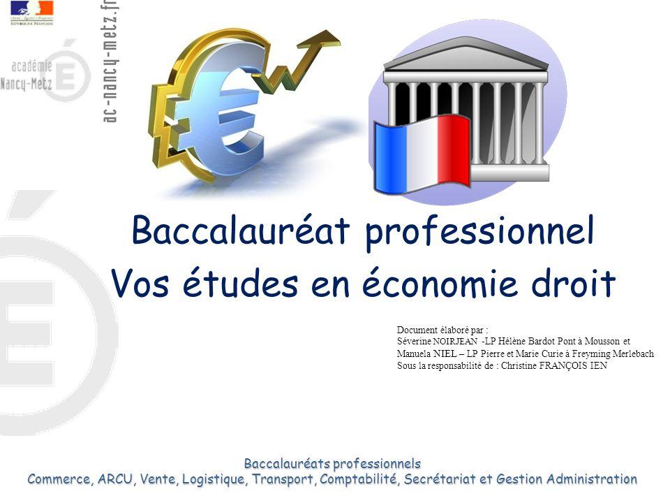 Baccalauréat professionnel Vos études en économie droit 1 Baccalauréats professionnels Commerce, ARCU, Vente, Logistique, Transport, Comptabilité, Sec