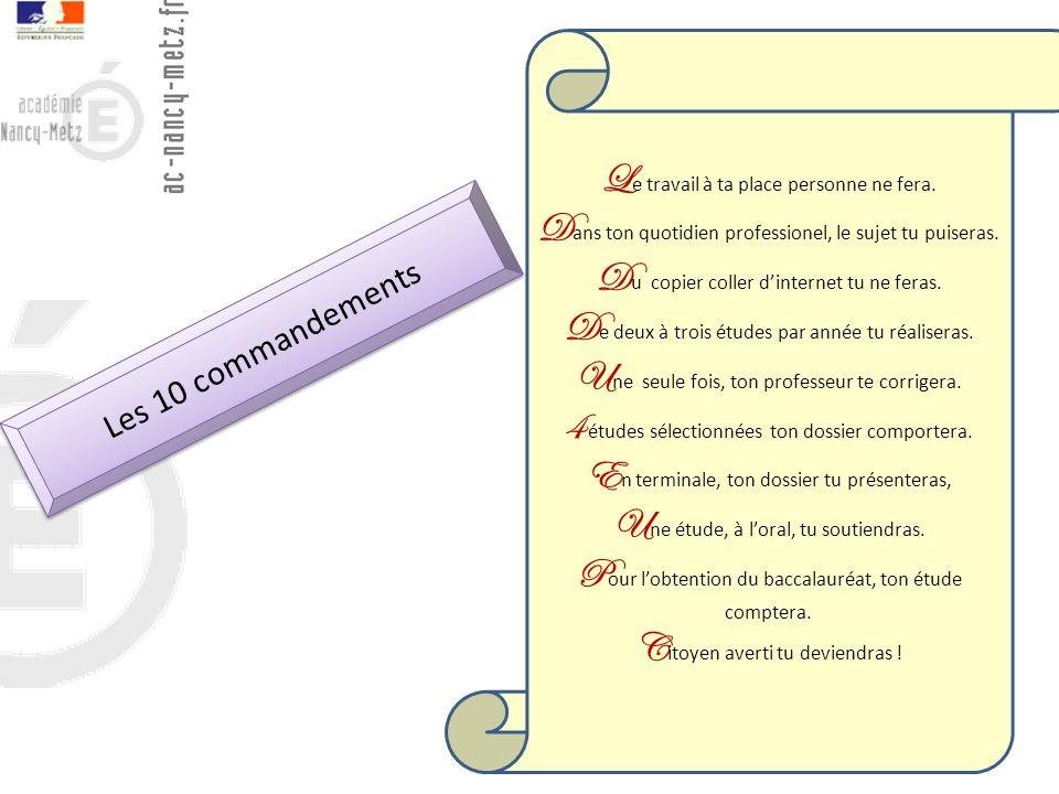 14 Les 10 commandements L e travail à ta place personne ne fera. D ans ton quotidien professionel, le sujet tu puiseras. D u copier coller dinternet t