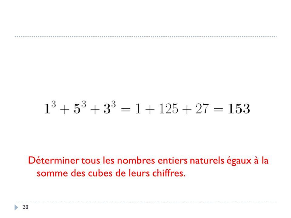 28 Déterminer tous les nombres entiers naturels égaux à la somme des cubes de leurs chiffres.