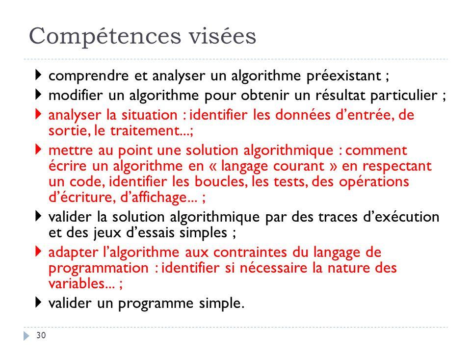 30 Compétences visées comprendre et analyser un algorithme préexistant ; modifier un algorithme pour obtenir un résultat particulier ; analyser la sit