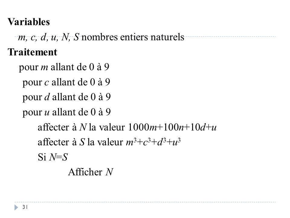 31 Variables m, c, d, u, N, S nombres entiers naturels Traitement pour m allant de 0 à 9 pour c allant de 0 à 9 pour d allant de 0 à 9 pour u allant d