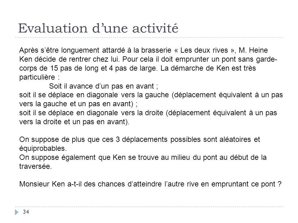 Evaluation dune activité 34 Après sêtre longuement attardé à la brasserie « Les deux rives », M. Heine Ken décide de rentrer chez lui. Pour cela il do