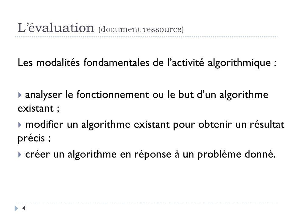 4 Lévaluation (document ressource) Les modalités fondamentales de lactivité algorithmique : analyser le fonctionnement ou le but dun algorithme exista