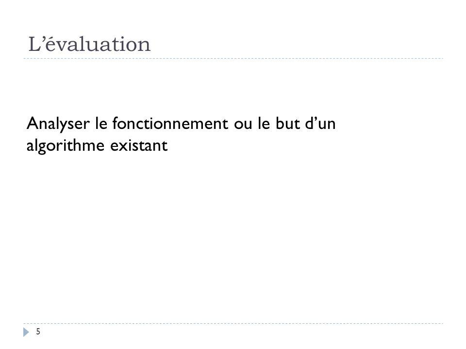 Lévaluation 5 Analyser le fonctionnement ou le but dun algorithme existant