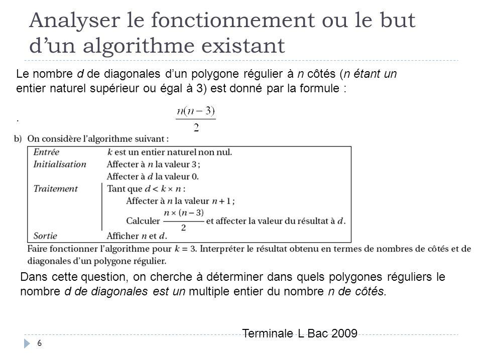 6 Le nombre d de diagonales dun polygone régulier à n côtés (n étant un entier naturel supérieur ou égal à 3) est donné par la formule :. Terminale L