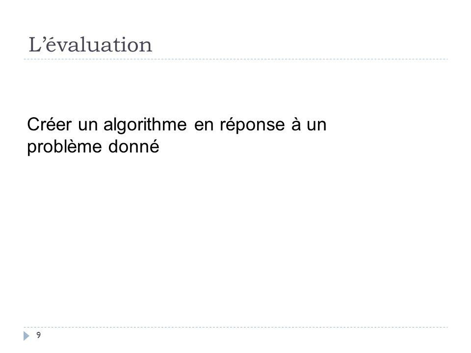 Lévaluation 9 Créer un algorithme en réponse à un problème donné