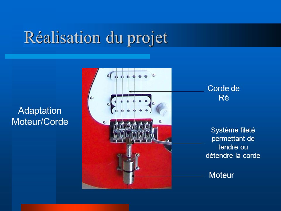 Réalisation du projet Adaptation Moteur/Corde Moteur Système fileté permettant de tendre ou détendre la corde Corde de Ré