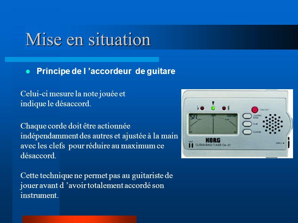 Mise en situation Principe de l accordeur de guitare Celui-ci mesure la note jouée et indique le désaccord.